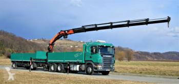 Camion Scania R420 Pritsche 6,60m +Kran/FUNK+Anhänger! plateau occasion