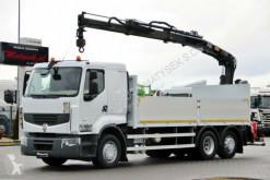 Renault PREMIUM 410/6X2/BOX+CRANE HIAB 144/STEERING AXLE truck used flatbed