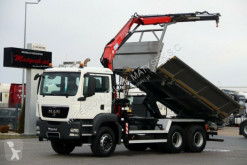 MAN TGS 26.360/ 6X4/ 3 SIDED TIPPER+CRANE FASSI F110 truck used flatbed