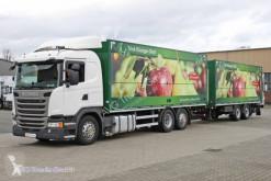 Used box trailer truck Scania G 410 E6 Getränkezu 2x LBW Lenkachse Retarder