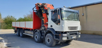 Iveco CAMION GRUA CAJA ABIERTA IVECO 440 8X4 PALFINGER PK 72002 + JIB truck used flatbed
