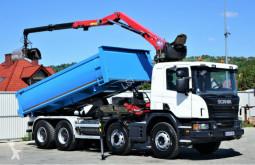 Camión Scania P400 Kipper 5,30m + Kran*8x4*EURO 6*Topzustand volquete usado