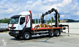 Camion plateau Renault KERAX 520 DXI Holztransporter+Kran*Topzustan