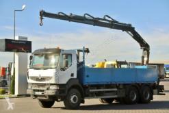 Renault KERAX 380 DXI/6X4/L:6,8M+CRANE HIAB 144/RADIO truck used flatbed