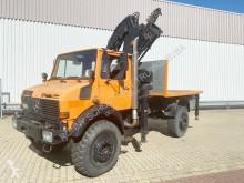 Used flatbed truck Unimog U 1850 L 4x4 U 1850 L 4x4 mit Kran MKG HLK 140, 18,3m-270kg!