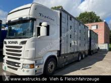 Ciężarówka z przyczepą do transportu zwierząt używana Scania R R 560 Topline Menke 4 Stock Hubdach Komplett