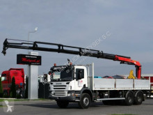 Scania P 340 / 6X4 / BOX -7,5 M + CRANE PALFINGER 16502 truck used flatbed