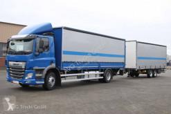 Lastbil med släp flexibla skjutbara sidoväggar DAF 320 Durchlade-Pritschenzug LBW ACC LDW