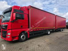 MAN tarp trailer truck TGX TGX 18.480 XXL E6 kompletter Zug Durchlader Anh