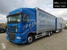 DAF tarp trailer truck XF105 XF 105.410 / Standklima / EDSCHA / mit Anhänger