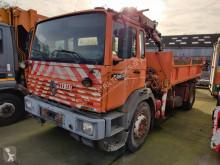Camion tri-benne Renault Gamme G 210 Kipper + HIAB 071 - Motorschaden / Engine Broken / Moteur Hors Service