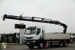 Vrachtwagen platte bak Renault KERAX 460/6X4/BOX-L:6,4M+CRANE HIAB 211/RADIO
