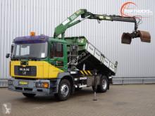 MAN 18.240 HMF 10TM Kraan, Crane, Kran - Kipper, Tipper - NL Truck!! Manuel truck used three-way side tipper