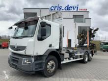 Camião transporte de madeira Renault Lander 410 6x2 Hiab Loglift 145Z Rungen klappbar