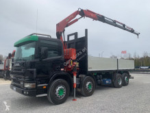 Camion Scania P124-420 P24.420 + FASSI F170AC.25 plateau ridelles occasion