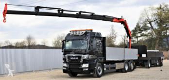 MAN plató teherautó TGS 26.480+ FASSI 215/FUNK + Anhänger 6,10m*6x4