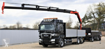 MAN flatbed truck TGS 26.480+ FASSI 215/FUNK + Anhänger 6,10m*6x4
