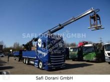 Scania platóoldalak plató teherautó S S520 V8 Hiab Kran 211 EP 4 Hydr mit Anhänger