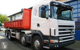 Camión volquete Scania R124 GB 470 8x2 Kettenabroller EURO 3 Retarder
