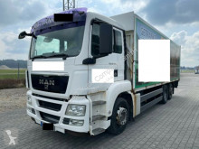 MAN beverage delivery flatbed truck TGS TGS 26.360 LL 6x2 Schwenkwand Getränkewg. m. LBW