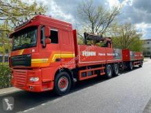 Lastbil med släp DAF XF105 XF 105.460 Baustoff mit ATLAS KRAN/ E5 EEV /Lenk platta häckar begagnad