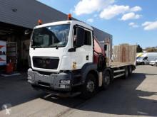 Camion plateau ridelles MAN TGS35.360 Low bed crane truck