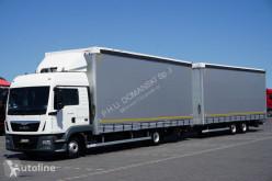 Camion Teloni scorrevoli (centinato) MAN TGL / / 12.250 / EURO 6 / ZESTAW 120 M3 / ŁAD. 12 415 KG / MAŁY + remorque rideaux coulissants