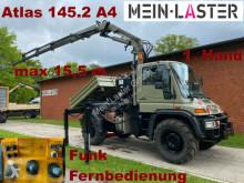 Teherautó Unimog U 400 Seilwinde Atlas 145.2 A4 15.5 m Funk FB használt hátra és két oldalra billenő kocsi