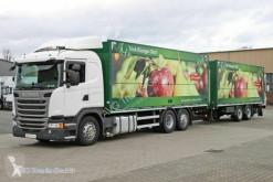 Lastbil med släp Scania G G 410 E6 Getränkezug 2x LBW Lenkachse Retarder transportbil bryggeri begagnad