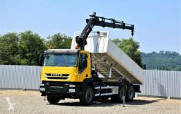 Iveco TRAKKER 410 Kipper 6,30m + HIAB 166E-3HIPRO+FUNK truck used flatbed