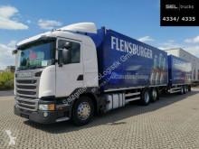 Камион платформа камион за превоз на бира Scania G410 / Retarder / Lenkachse / with trailer