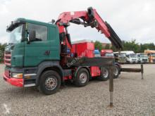 Lastbil Scania R470 8x4 HMF ODIN K8 54 TM ANALOG TACHO flatbed sidetremmer brugt