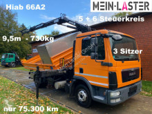 MAN three-way side tipper truck TGL TGL 8.180 3 S-Kipper Hiab HLK 66A2 *9,5m - 730kg