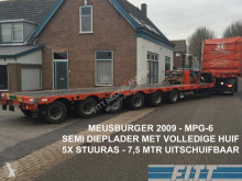 Meusburger heavy equipment transport semi-trailer MPG-6 / 6ass semi, 5x stuuras, 7,50 mtr uitschuifbaar, huif/schuifkap