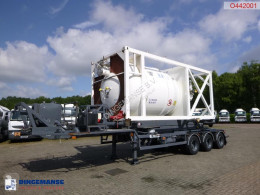 Tipper semi-trailer container trailer (sliding, tipping) + 20 ft ISO silo tank container 15 m3 / 1 comp