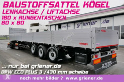 Sættevogn flatbed Kögel SN24 /BAUSTOFF 800 BW /160 x RUNGEN LENKACHSE