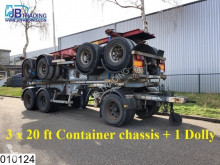 semi remorque Asca Container 3 x 20 FT Container chassis + 1 x Dolly, Steel suspension