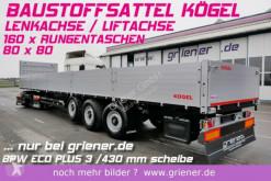 Sættevogn flatbed sidetremmer Kögel SN24 /BAUSTOFF 800 BW /160 x RUNGEN LENKACHSE