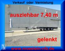 Sættevogn Meusburger 3 Achs Tele- Auflieger, 7,40 m ausziehbar, gele flatbed brugt