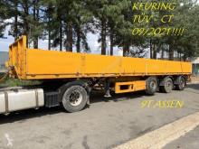 KWB flatbed semi-trailer 3-as STEENOPLEGGER / KRAANOPLEGGER / SPOORLOPER VOOR ROLKRAAN - NIEUWE DRAAIKRANS TWV €4500 - KEURING 09/2021 - BELGISCHE PAPIER