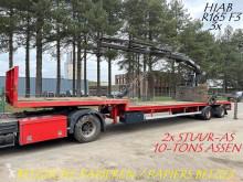 KWB 2-as SEMI DIEPLADER + KRAAN HIAB R165 F3 ROLKRAAN - BELGISCHE PAPIEREN / PORTE CHAR + GRUE MOBILE A SIEGE semi-trailer used flatbed