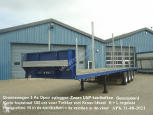 Félpótkocsi Groenewegen DRO - 12 - 27 3 As Open Oplegger Zware UNP kantbalken + Korte Kopstraal Gescopeerd használt plató
