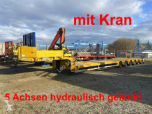 Doll heavy equipment transport semi-trailer 6 Achs Satteltieflader, 5 x gelenkt mit Kran--