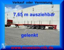 Semitrailer platta 3 Achs Auflieger, 7,65 m ausziehbar, gelenkt