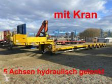 Doll 6 Achs Satteltieflader, 5 x gelenkt mit Kran-- semi-trailer used flatbed