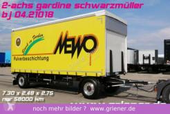Reboque Schwarzmüller T serie / GARDINE 2-achs / SAF / EDSCHA 7,30 caixa aberta com lona usado