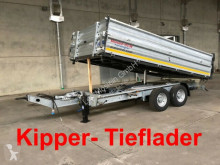 Möslein three-way side trailer Tandem Kipper Tiefladermit Bordwand- Aufsatz--