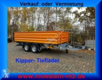 Möslein three-way side trailer Tandem Kipper Tiefladermit Bordwand- Aufsatz--