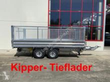 Möslein Tandem 3- Seitenkipper Tieflader, Gitteraufsatz trailer used three-way side