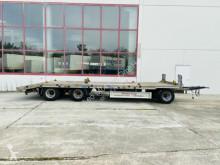 Möslein 3 Achs Tiefladeranhänger gerade Ladefläche trailer used heavy equipment transport